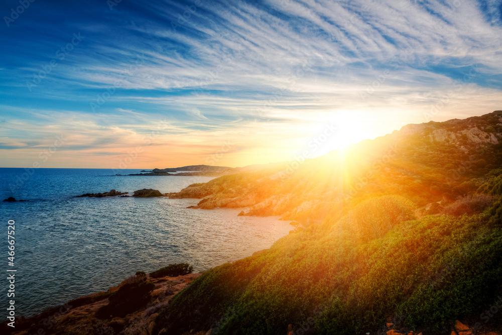Foto Rollo Basic - Sonnenuntergang in Chia - Sardegna