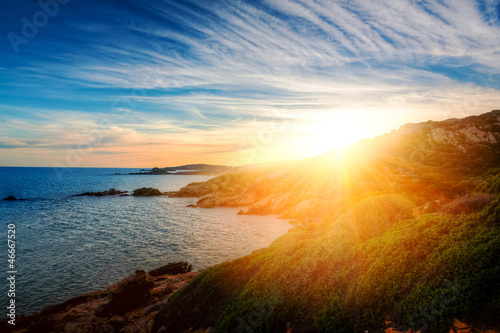 Foto-Schiebegardine Komplettsystem - Sonnenuntergang in Chia - Sardegna (von Ideeah Studio)