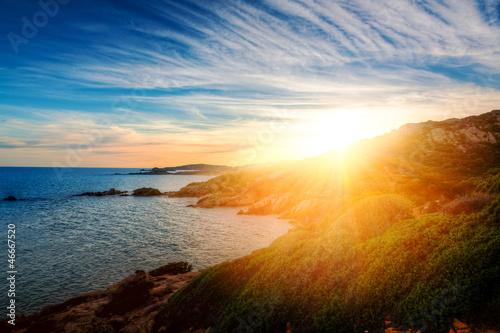 Foto-Leinwand - Sonnenuntergang in Chia - Sardegna