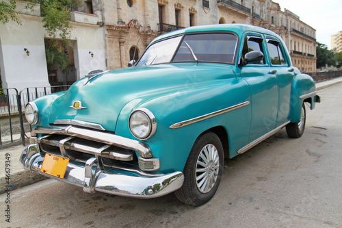 Canvas Prints Cars from Cuba Classic blue Plymouth in Havana. Cuba.