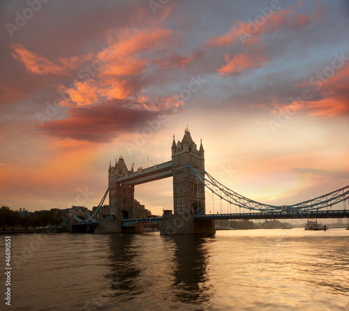 Tower Bridge against sunrise in London, UK