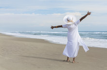 Happy African American Woman Dancing On Beach