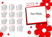 Calendario 2014 Fiori Rossi