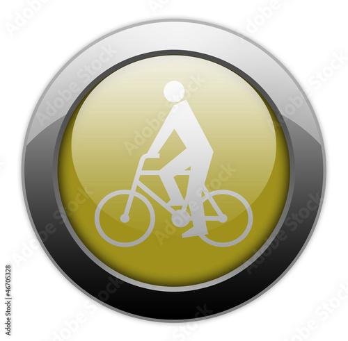 """Fotografie, Obraz  Yellow Metallic Orb Button """"Bicycler"""""""