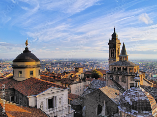 Fotomural Bergamo, view from city hall tower, Lombardy, Italy