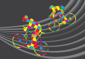 Fototapeta Cyclist riding a bicycle vector background