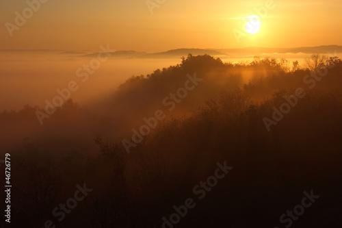 Fotobehang Zwavel geel Golden Sunrise over the Mountain