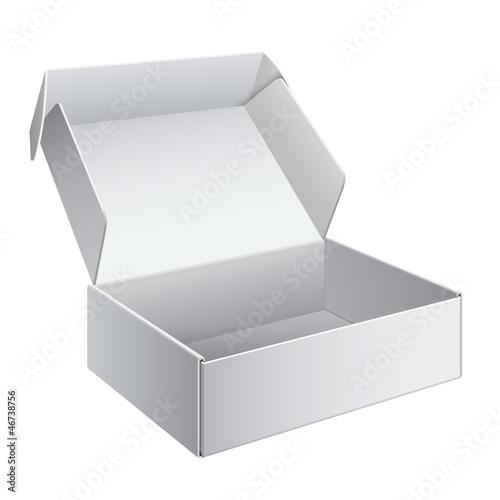 Photographie  Boîte de paquet blanc ouverte. Pour appareil électronique