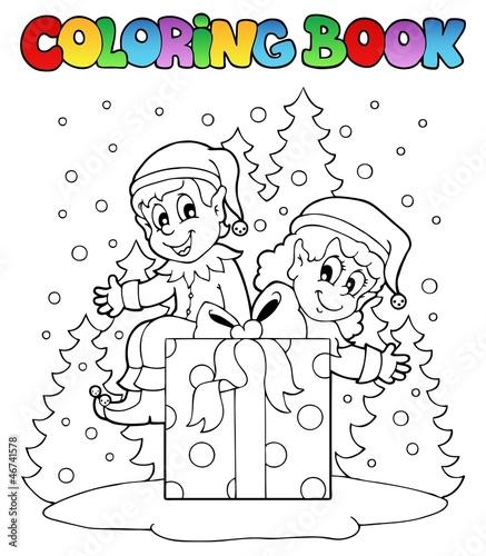 Spoed Foto op Canvas Doe het zelf Coloring book Christmas elf theme 2