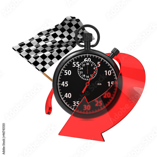 Fotografie, Obraz  Checkered Flag with Stopwatch and Arrow.