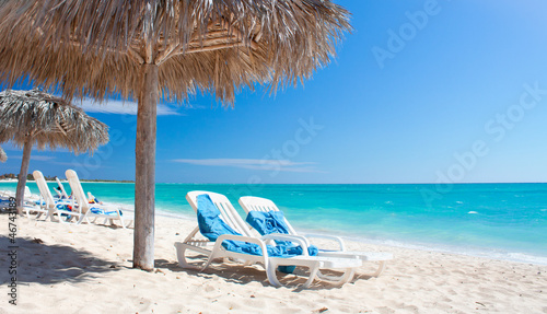 Beautiful tropical beach at the Caribbean island with white sand Wallpaper Mural