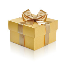 Golden Gift Box With Golden Ri...