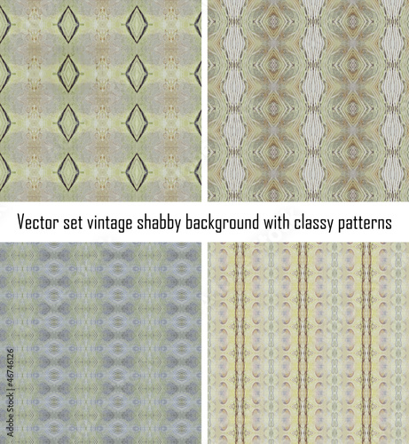Poster Artificiel Set vintage shabby background with classy patterns