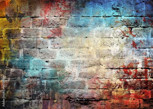 Acrylic Prints Graffiti Graffiti brick wall, colorful background