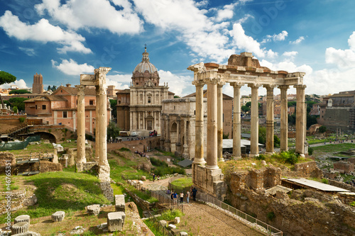 Poster Ruine View of the Roman Forum in Rome, Italy