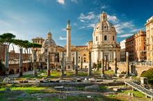 Trajan's Column In Ancient Forum, Rome, Italy. Beautiful Roma Cityscape.