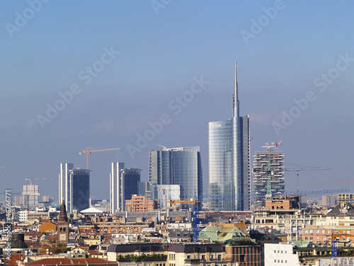 In de dag Milan Milan, cityscape from cathedral's roof, Lombardy, Italy