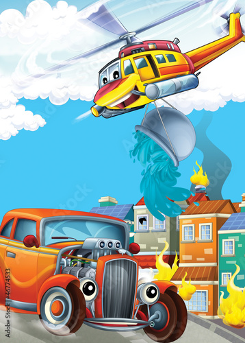 Keuken foto achterwand Cars The car and the flying machine