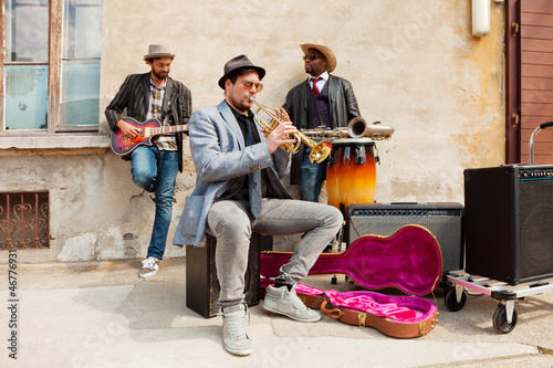 Photo  Band of blues musicians