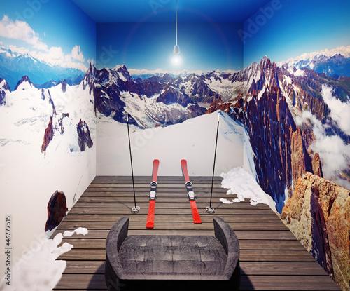 armchair and  ski