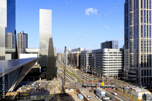 Poster Rotterdam City skyline and construction of Rotterdam Central Station