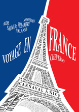 Eiffel Tower From The Names Of Attractions, Vector