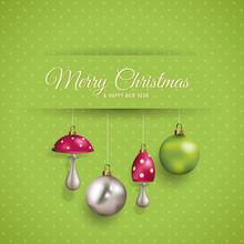 Cute Christmas Card With Polka...