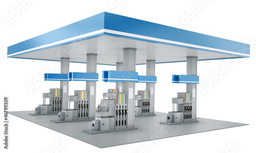 Gas station isolated on white background, 3d render Fototapet