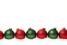 Border Of Green And Red Christmas Balls