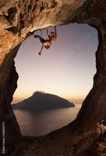 Rock climber at sunset. Kalymnos Island, Greece. - 46805273