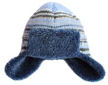 Chapka Bleu  Tricotée Isolée Sur Le Fond Blanc.  Bonnet Chaud D'hiver.