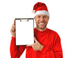 Smiling christmas man wearing a santa hat isolated on the white