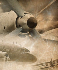 Fototapeta Samoloty Retro aviation, vintage background