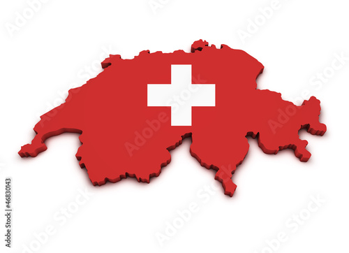 Fotografie, Obraz  Switzerland Map Flag Shape