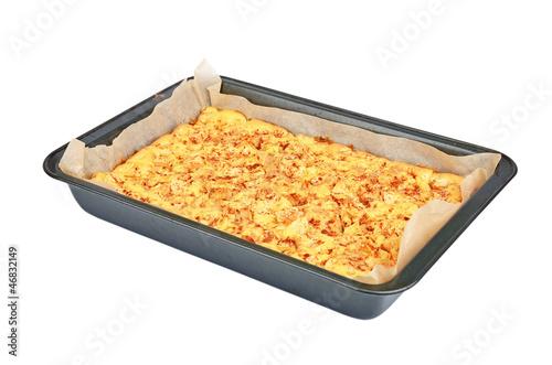Valokuva  Apple pie baking sheet, isolated on white background