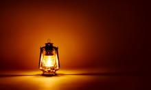 Burning Kerosene Lamp Background, Concept Lighting