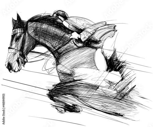 Acrylic Prints Art Studio horse and jockey