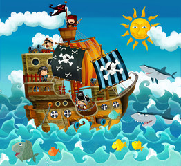 Fototapeta The pirates on the sea - illustration for the children
