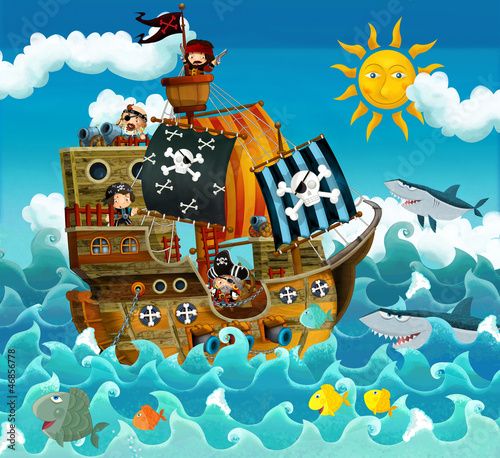 Fotobehang Piraten The pirates on the sea - illustration for the children
