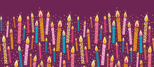 Vector Colorful Birthday Candles Horizontal Seamless Pattern