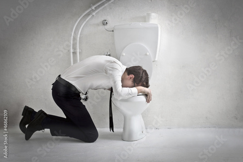 Vászonkép Young Businessman Vomiting