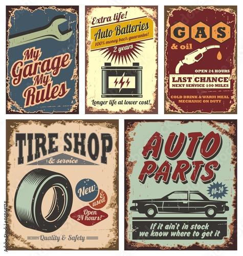 plakat Znaki rocznika samochodu i plakaty metalowe