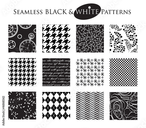 Fototapety, obrazy: Set of 12 Seamless Black and White Patterns