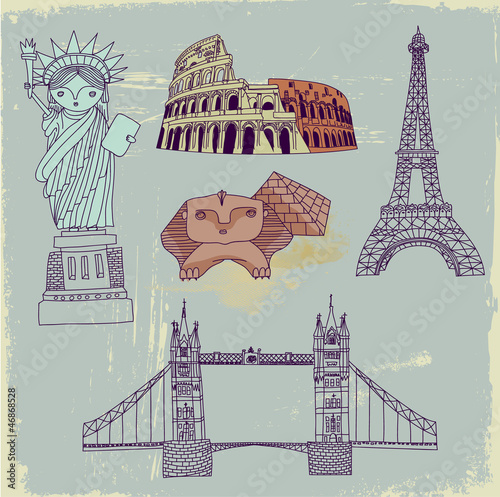 Photo sur Toile Doodle Famous World Landmarks, hand drawn