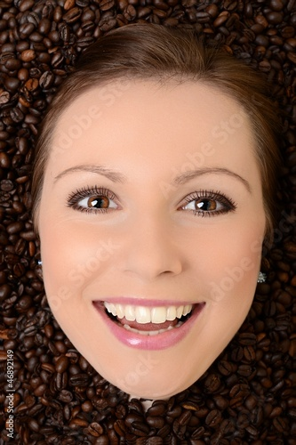 Canvas Prints Coffee beans Beautiful Woman with Coffee bean