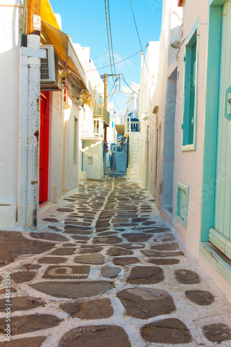 Beautifull narow alley in Mykonos island cyclades Greece