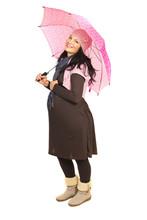 Happy Pregnant Woman With Umbrella