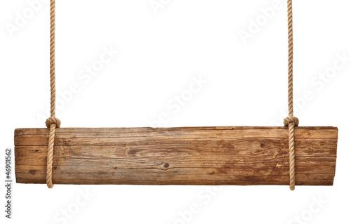 Fototapeta wooden sign background message rope hanging obraz