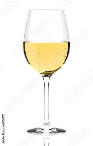 Fotografie, Obraz  White wine glass isolated