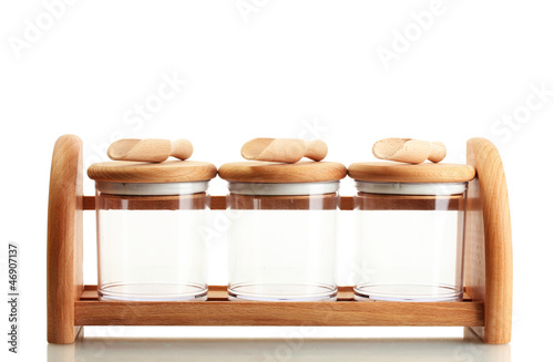 Tuinposter Kruiden 2 empty glass jars for spices with spoons